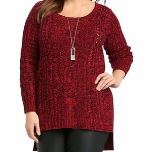 TORRID Red Black Marled Knit Cable Stitch Sweater